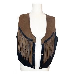 Hot Leathers Leather Vest with Tassels Women's L